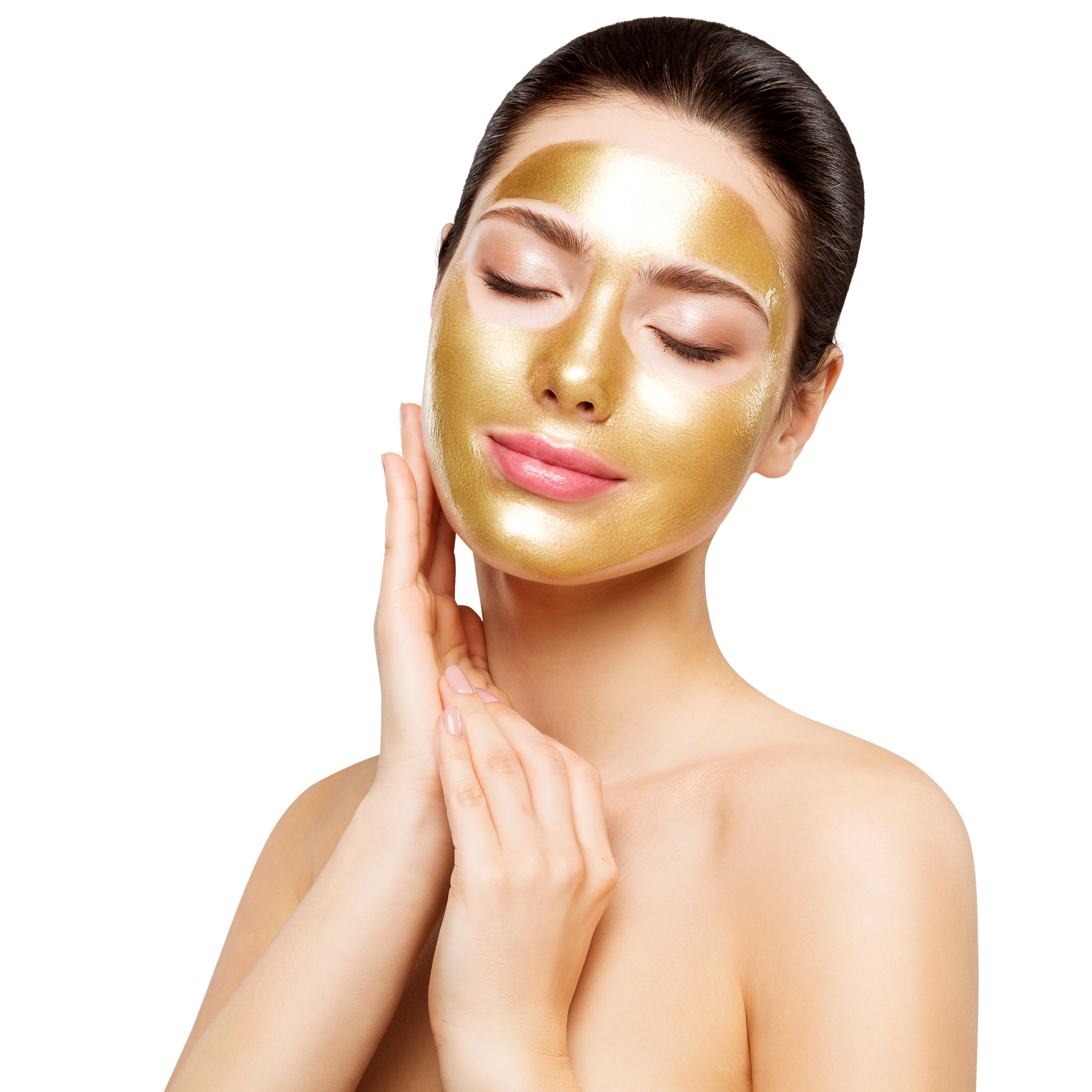 Woman Gold Mask, Beautiful Model with Golden Skin Cosmetic touch Face, Beauty Skincare and Treatment